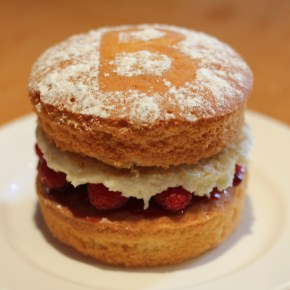 Duck egg Victoria sponge with raspberry & coconut buttercream filling