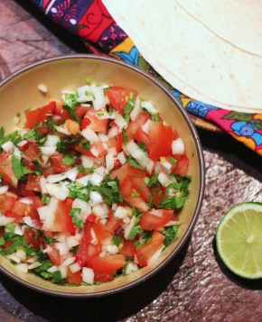 Mexican supper: Spicy fajitas and pico de gallo salsa
