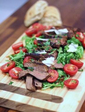 Italian supper: Hot beef tagliata, rocket & parmesansalad