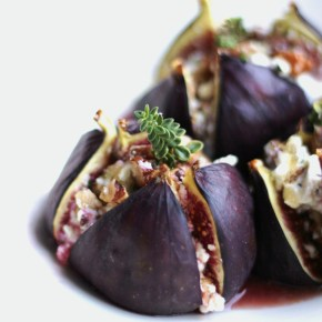 Baked figs stuffed with walnut & thyme goat's cheese