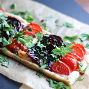 Tomato, beetroot & mozzarella summer 'pizza' tart