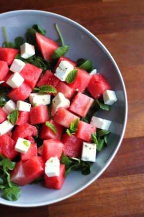 Feta, watermelon & mintsalad