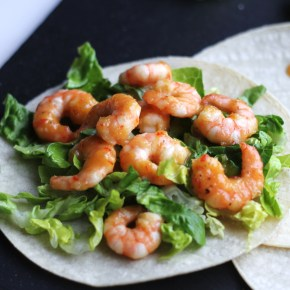 Sweet & spicy prawn tacos