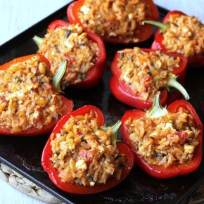 Greek supper: Feta stuffed peppers