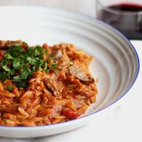 Greek-inspired: Cinnamon lamb withorzo